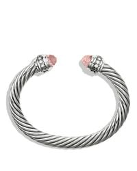David Yurman | Metallic Cable Classics Bracelet With Morganite & Diamonds | Lyst