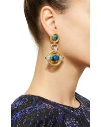 David Webb - Metallic Cabachon Azurite, Emerald, And Diamond Earrings - Lyst