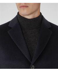 Reiss | Blue Gabriel Wool Blend Epsom Coat for Men | Lyst
