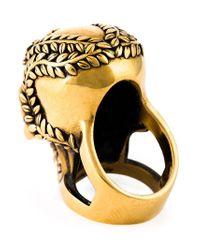 Alexander McQueen - Black Floral Skull Cocktail Ring - Lyst