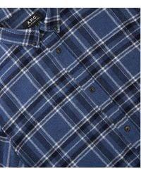 A.P.C. Blue Flannel Check Shirt for men