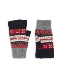 Barbour | Blue Fair Isle Fingerless Wool Gloves | Lyst