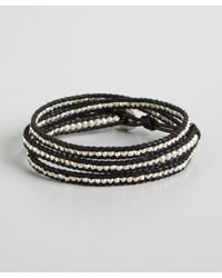 Chan Luu - Black Leather and Silver Nugget Beaded Wrap Bracelet - Lyst