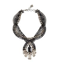 BCBGMAXAZRIA | Gray Twisted Stone Statement Necklace | Lyst