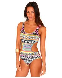 Missguided | Multicolor Pritty Aztec Cut Out Bodysuit | Lyst