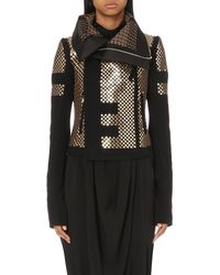 Rick Owens | Black Sequin-embellished Wool-blend Biker Jacket | Lyst