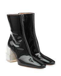 Maison Margiela - Black Patent Leather Ankle Boots - Lyst