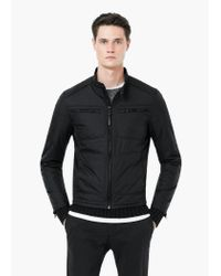 Mango - Black Zip Nylon Jacket for Men - Lyst