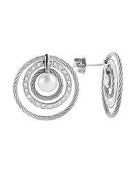 Charriol - Women'S Classique 18K White Gold And Stainless Steel Diamond Earrings - Lyst