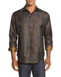 Robert Graham | Black Classic Fit Jacquard Silk Sport Shirt for Men | Lyst