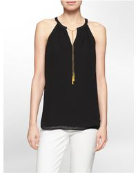 Calvin Klein | Black White Label Chain Hardware Sleeveless Top | Lyst