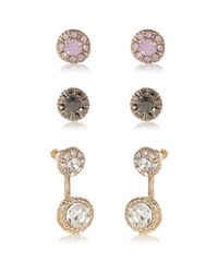 River Island | Pink Gold Tone Front And Back Earrings Pack | Lyst