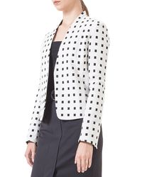 Akris Punto | White Square-Dotted Jacquard Jacket | Lyst