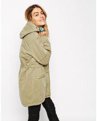 ASOS - Natural Parka In Washed Cotton With Brushed Check Lining - Lyst