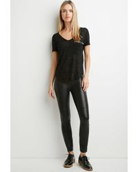 Forever 21 - Black Contemporary Speckled Zip-pocket Top - Lyst
