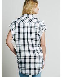 Free People - White Cap Sleeve Plaid Buttondown - Lyst