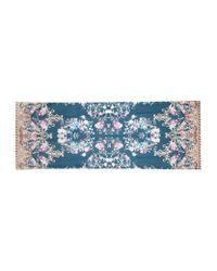 Roberto Cavalli | Blue Floral Baroque Silk Scarf | Lyst
