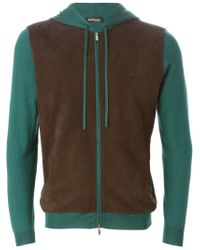 Kiton - Green Panelled Hoodie for Men - Lyst