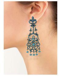 Kenneth Jay Lane | Blue Turquoise Drop Clip Earring | Lyst