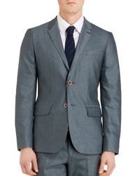 Ted Baker | Blue Veerity Diamond Jacquard Classic Fit Blazer for Men | Lyst