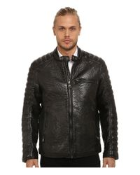 Marc New York | Black Broadway Bubble P/u Moto Jacket W/ Quilted Sleeve Detail for Men | Lyst