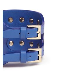Valentino - Blue 'rockstud' Wide Leather Bracelet - Lyst