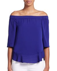 Rebecca Taylor - Purple Silk Georgette Off-the-shoulder Top - Lyst