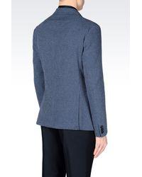 Emporio Armani - Blue Jacket In Micro Jacquard Cotton for Men - Lyst