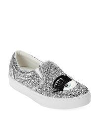 Chiara Ferragni - Metallic Flirting Sequinned Slip-On Sneakers - Lyst