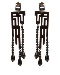 Anna E Alex - Small Black Labirinto Deco Wooden Drop Earring - Lyst