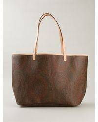 Etro - Brown Paisley-Print Calf-Leather Tote - Lyst