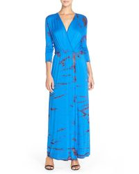 Fraiche By J Purple Tie-Dye Faux-Wrap Maxi Dress
