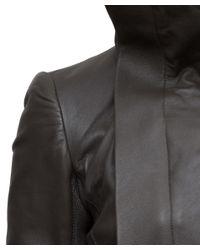 Rick Owens - Gray Leather Biker Jacket - Lyst