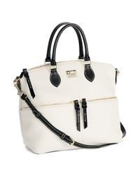 Dooney & Bourke | White Double Pocket Leather Satchel Bag | Lyst
