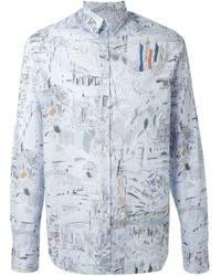 Paul Smith - Blue Sketch Print Shirt for Men - Lyst
