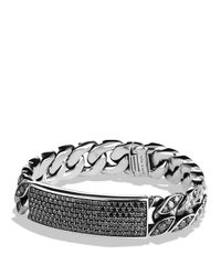 David Yurman | Pavé Curb Chain Id Bracelet With Black Diamonds for Men | Lyst