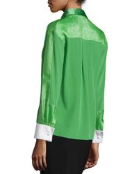 Prabal Gurung - Green Long Sleeve Button-Front Blouse - Lyst