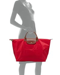 Longchamp - Red Le Pliage Large Travel Tote Bag - Lyst