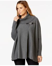 Calvin Klein | Gray Plus Size Cowl-neck Buckled Cape Sweater | Lyst