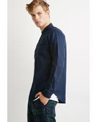 Forever 21 | Blue Contrast-trimmed Oxford Shirt for Men | Lyst