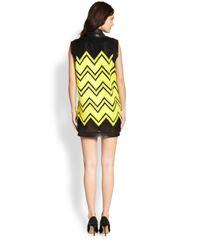 Alexander Wang - Yellow Chevron Embroidered Mesh Shift Dress - Lyst