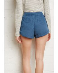 Forever 21 - Blue Zippered Pocket Drawstring Shorts You've Been Added To The Waitlist - Lyst