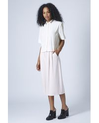 TOPSHOP - White Cotton Oversized Shirt - Lyst
