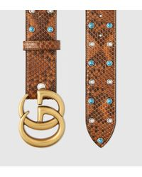 77d25f4a2e5 Gucci Python Belt With Double G Buckle in Brown for Men - Lyst