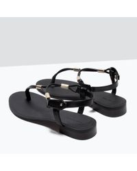 Zara | Black Flat Sandals With Gold-tone Detail | Lyst