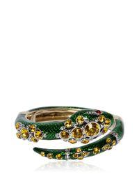 Roberto Cavalli - Green Snake Bracelet With Swarovski Crystals - Lyst