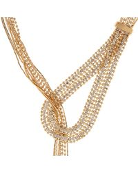 River Island | Metallic Gold Tone Thread-through Necklace | Lyst