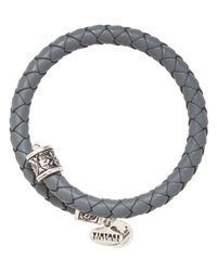 ALEX AND ANI - Gray Vintage 66 Braided Leather Wrap Bangle - Lyst