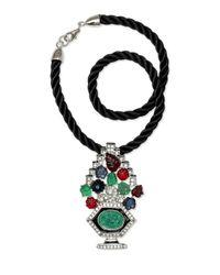 Kenneth Jay Lane | Black Tutti Frutti Art Deco Pendant Necklace | Lyst