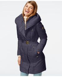 Vince Camuto | Blue Cable-knit-trim Down Puffer Coat | Lyst